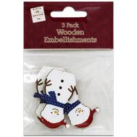 Wooden Jolly Snowmen Embellishments: Pack of 3