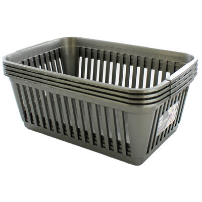 Small Grey Handy Plastic Basket - Set of 4 image number 2