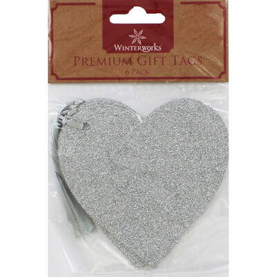 6 Premium Glitter Heart Gift Tags - Assorted image number 2