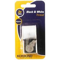 Korbond Black and White Thread: Pack of 2