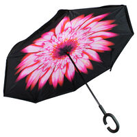Pink Floral Backwards Brolly Inside Out Umbrella