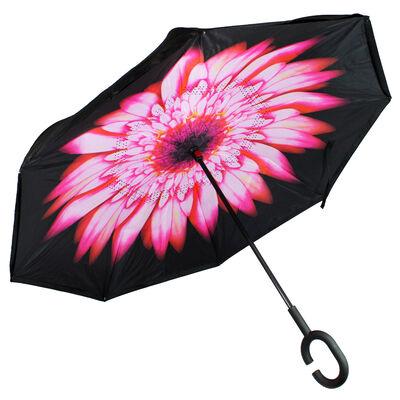 Pink Floral Backwards Brolly Inside Out Umbrella image number 1