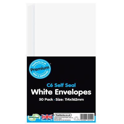 C6 White Self Seal Envelopes: Pack of 50 image number 1