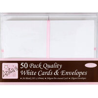 A6 Blank White Cards and Envelopes: Pack of 50