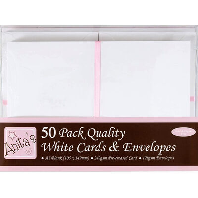 A6 Blank White Cards and Envelopes: Pack of 50 image number 1
