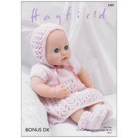 Hayfield Bonus DK: Doll Dress Set Knitting Pattern 2482