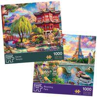 Blooming Paris & Secret Temple 1000 Piece Jigsaw Puzzle Bundle