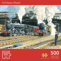 Full Steam Ahead 500 Piece & Market Day Skipton 1000 Piece Jigsaw Puzzle with Portapuzzle Board Bundle