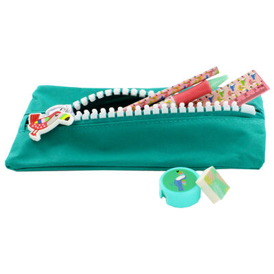 Green Canvas Oversized Zip Pencil Case image number 4
