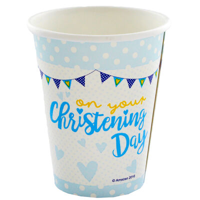 Blue Christening Day Paper Cups - 8 Pack image number 1