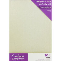 Crafters Companion Glitter Card 10 Sheet Pack - Ivory