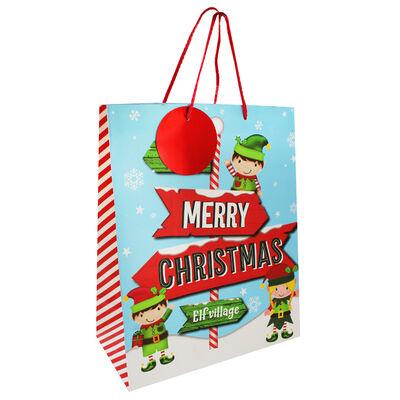 Large Elf Text Gift Bag image number 1