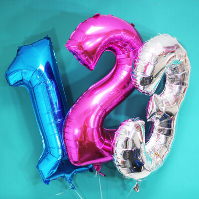 34 Inch Silver Number 0 Helium Balloon image number 3