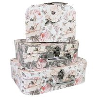 Grey Pink Floral Storage Suitcases: Set of 3