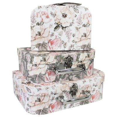 Grey Pink Floral Storage Suitcases: Set of 3 image number 1