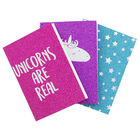 A7 Glitter Unicorn Notebooks - Pack of 3 image number 2