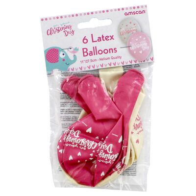 Pink Christening Day Latex Balloons - 6 Pack image number 2