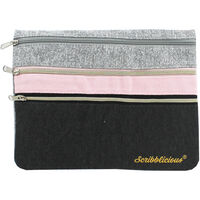 Grey and Pink 3 Pocket Pencil Case