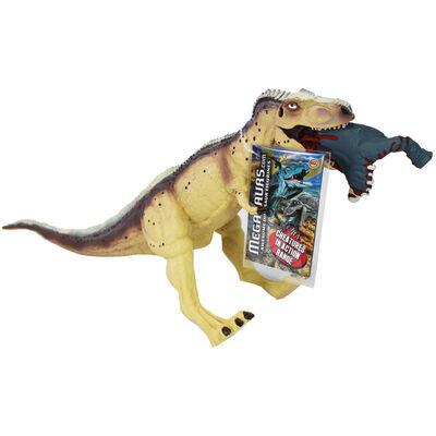 Cream T Rex Crushing Prey Dinosaur Figurine image number 1