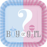 Gender Reveal Square Paper Plates - 8 Pack