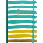 A5 Turquoise and Gold Stripe Lined Notebook image number 1