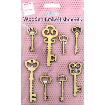 Wooden Key Embellishments - 8 Pack image number 1