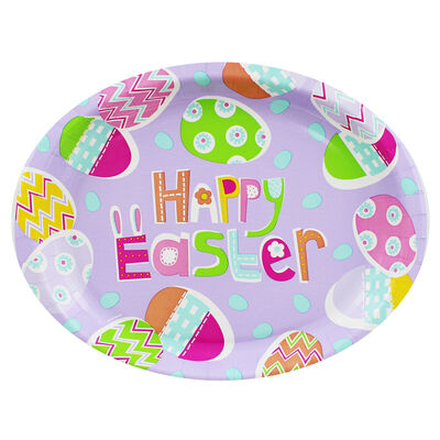 Large Oval Easter Paper Plates - 8 Pack image number 1