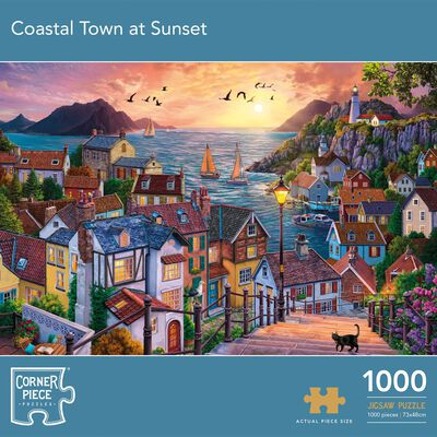 Coastal Town at Sunset 1000 Piece Jigsaw Puzzle image number 1