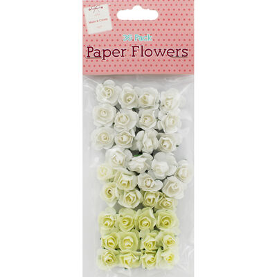 MC 36 Paper Flowers White Crea image number 1