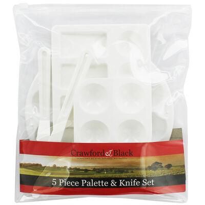 5 Piece Plastic Palette and Knife Set image number 1