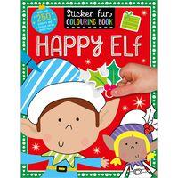 Happy Elf: Sticker Fun Colouring Book