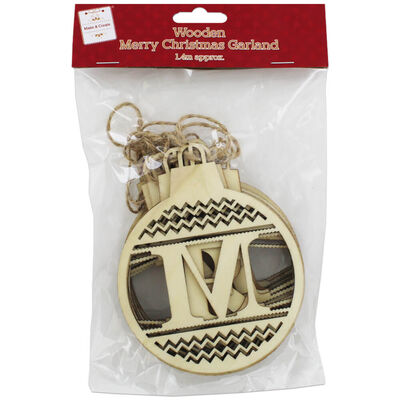 Wooden Merry Christmas Garland image number 1