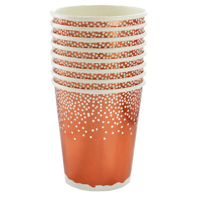 Rose Gold Foil Dot Merry Christmas Paper Cups - 8 Pack image number 2