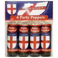 England Party Poppers: Pack of 4