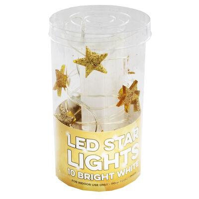 10 Bright White Gold Glitter LED Star Lights image number 1