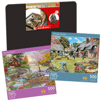 Cottage Garden & Spring Stream 500 Piece Jigsaw Puzzle with Portapuzzle Board Bundle
