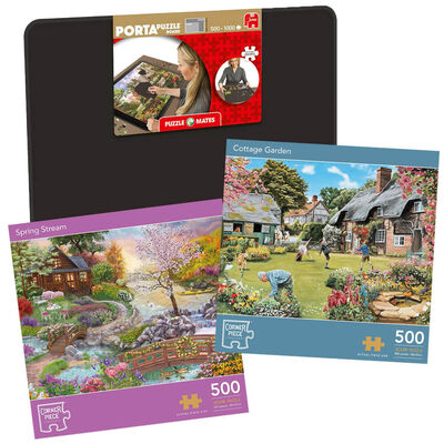 Cottage Garden & Spring Stream 500 Piece Jigsaw Puzzle with Portapuzzle Board Bundle image number 1