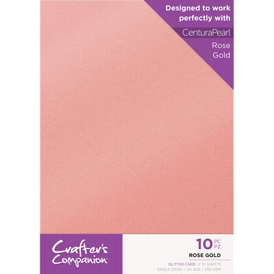 Crafters Companion Glitter Card 10 Sheet Pack - Rose Gold image number 1