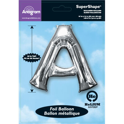 34 Inch Silver Letter A Helium Balloon image number 2