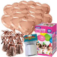 Mother's Day 18 Inch Rose Gold Helium Heart Balloon Bundle