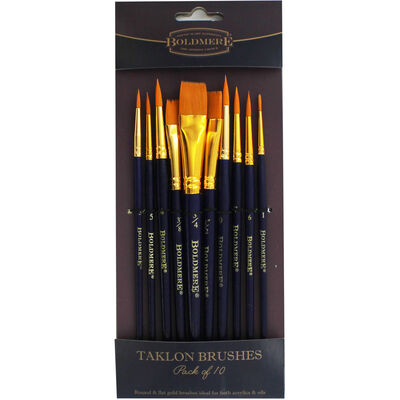 Boldmere 10 Piece Brush Set - Round And Flat Gold Taklon image number 1