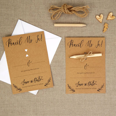 10 Kraft Wedding Save the Date Cards with Envelopes image number 4