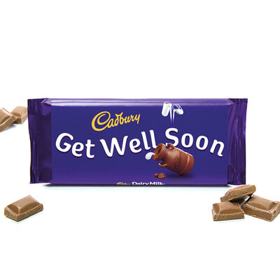 Cadbury Dairy Milk Chocolate Bar 110g - Get Well Soon image number 2