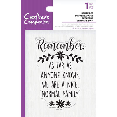 Crafters Companion Clear Acrylic Stamp - Remember image number 1