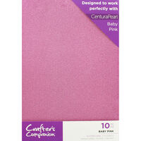 Crafters Companion Glitter Card 10 Sheet Pack - Baby Pink