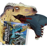 Cream T Rex Crushing Prey Dinosaur Figurine