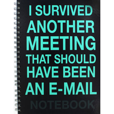 A4 Wiro I Survived Another Meeting Lined Notebook image number 1