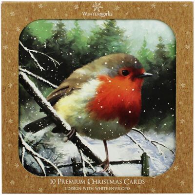 Robin Christmas Cards - Pack Of 10 image number 1