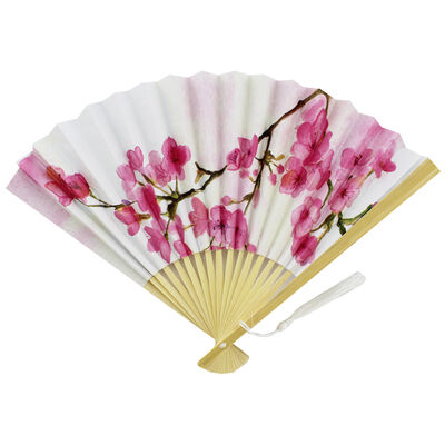 White Floral Paper Fan image number 1