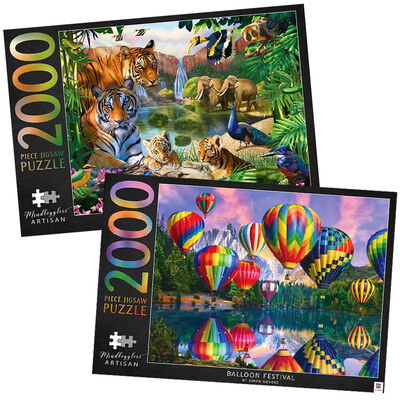 Mindbogglers Artisan In the Jungle & Balloon Festival 2000 Piece Jigsaw Puzzle Bundle image number 1